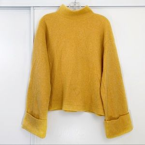 Zara Mock Neck Wide Sleeve Popover Sweater